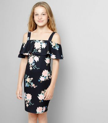 Teens Black Floral Print Cold Shoulder Dress