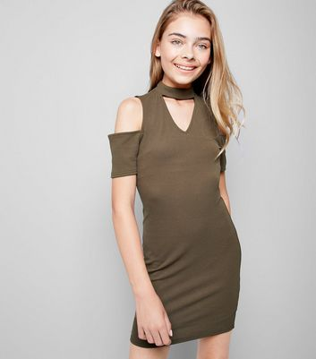 Teens Khaki Cold Shoulder Choker Dress