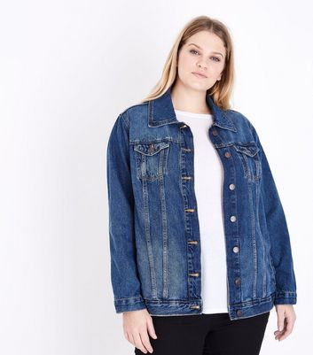 Curves Blue Oversized Denim Jacket