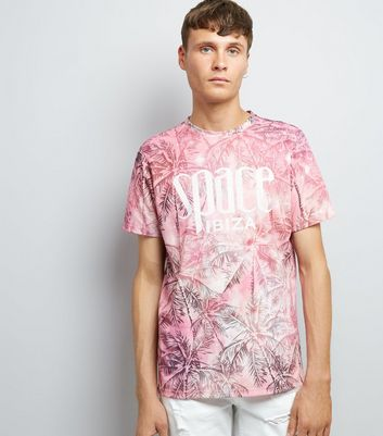 Pink Ibiza Palm Tree Print T-Shirt