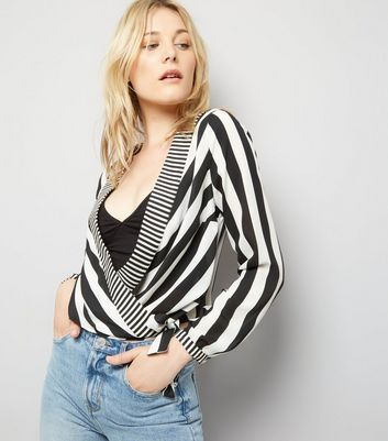 Black Stripe Print Wrap Front Top