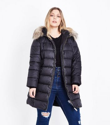 Curves Black Longline Belted Puffer Jacket