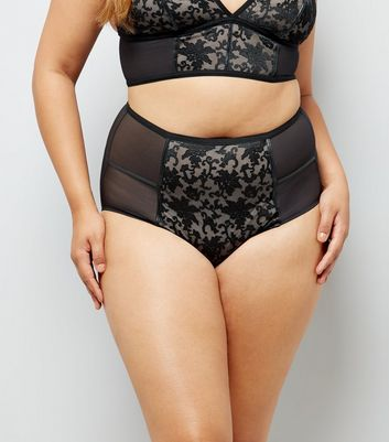 Curves Black Baroque Embroidered Briefs