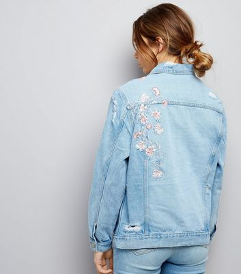 Blue Floral Embroidered Denim Jacket