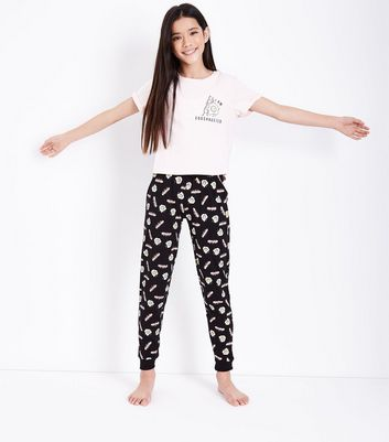 Teens Pink I Am Eggshausted Slogan Pyjama Set