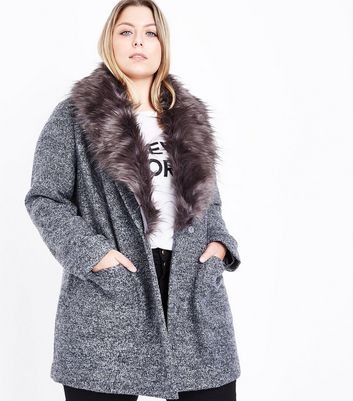 Curves Black Speckled Faux Fur Collar Coat