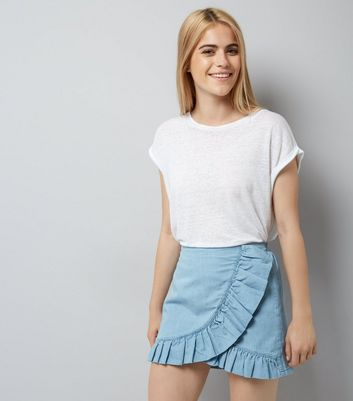 Blue Cotton Frill Wrap Skort