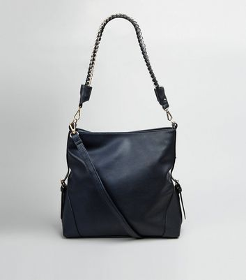 Navy Textured Oversized Shoulder Bag