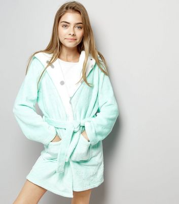 Teens Mint Polka Dot Pattern Lining Robe