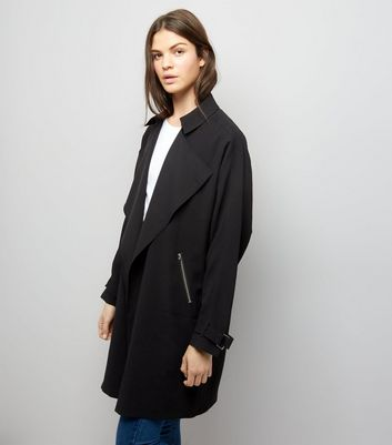 Black Wrap Front Coat