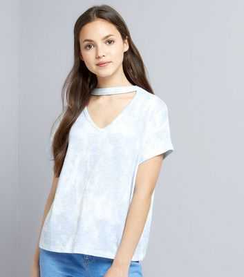 Teens Blue Tie Dye Choker Neck T-Shirt