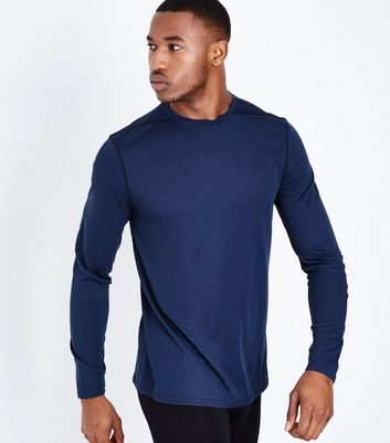 Navy Long Sleeve Crew Neck Sports Top