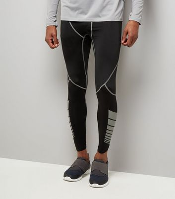 Black Second Skin Contrast Stitch Sports Leggings