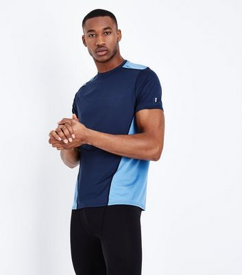 Navy Contrast Panel Sports T-Shirt