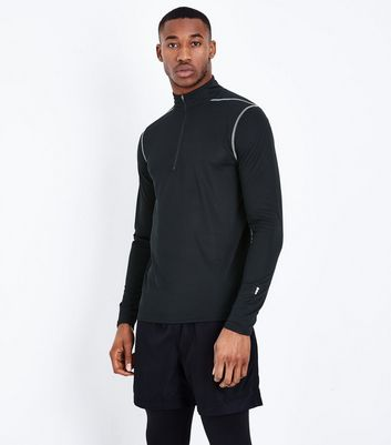 Black Mesh Long Sleeve Sports Top