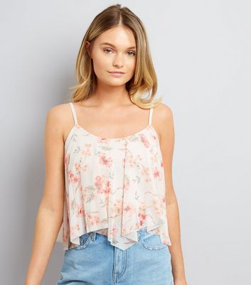 Cream Floral Print Hanky Hem Crop Top