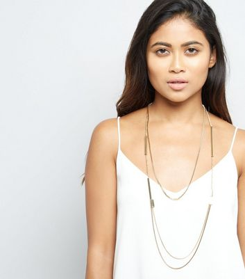 Gold Metal Bar Layered Long Necklace