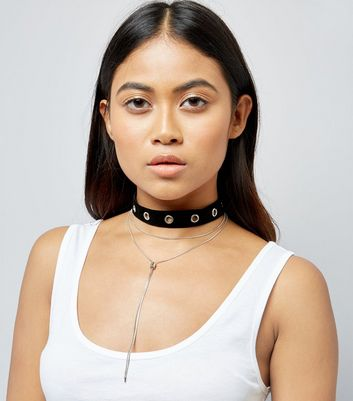 Black Eyelet Layered Choker