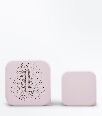2 Pack Shell Pink L Initial Lunch Box