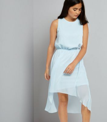 Teens Pale Blue Dip Hem Chiffon Dress