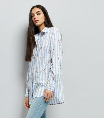 Tall Blue Stripe Flamingo Print Shirt