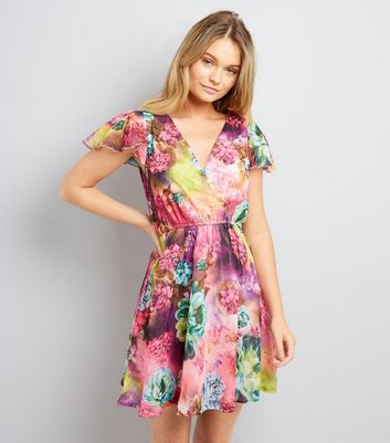 Mela Multicoloured Floral Print Wrap Front Dress
