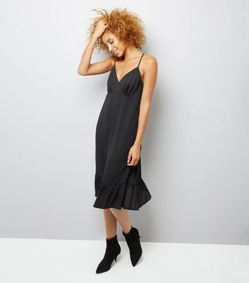 Black Sheer Frill Trim Slip Dress