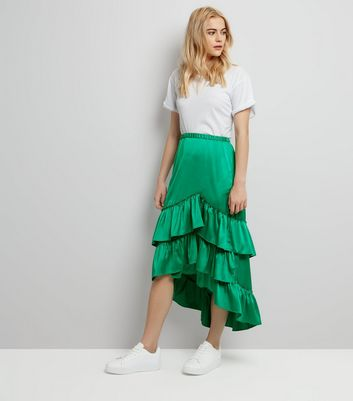 Green Satin Tiered Frill Dip Hem Midi Skirt