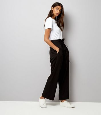 Black Lace Up Paperbag Waist Wide Leg Trousers