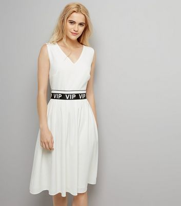 White VIP Belt V Neck Dress