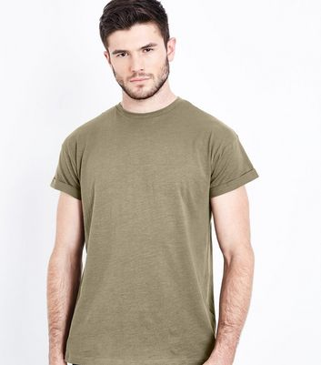 Khaki Cotton Rolled Sleeve T-Shirt