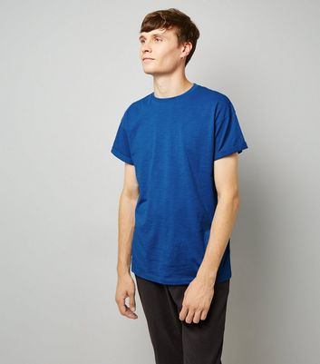 Blue Cotton Rolled Sleeve T-Shirt