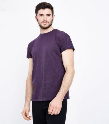 Dark Purple Cotton Rolled Sleeve T-Shirt