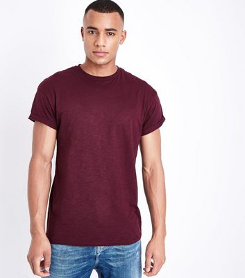 Burgundy Rolled Sleeve T-Shirt