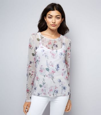 White Floral Print Mesh Long Sleeve Top