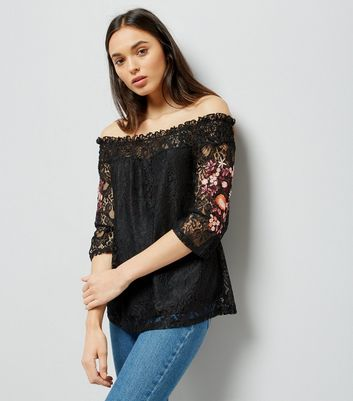 Black Floral Embroidered Lace Bardot Neck Top