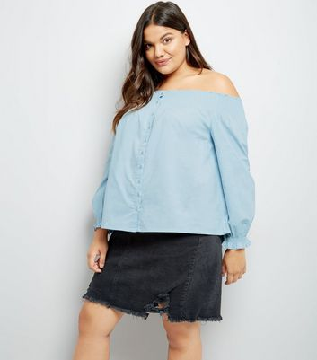 Curves Blue Button Front Bardot Neck Top