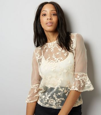 Cream Floral Embroidered Mesh Bell Sleeve Top