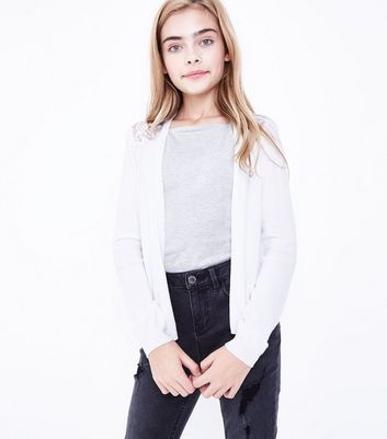 Teens White Lace Back Cardigan