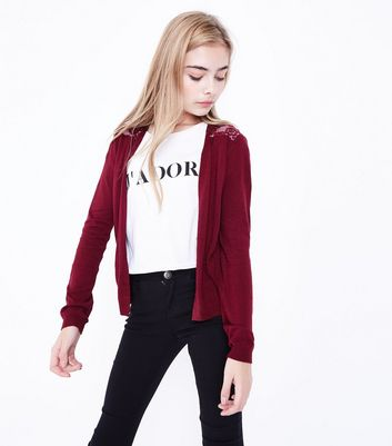 Teens Burgundy Lace Back Cardigan