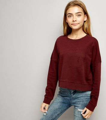 Teens Burgundy Ripped Sweater