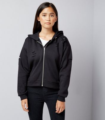 Teens Black Ripped Trim Hoodie
