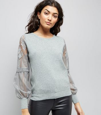 Pale Grey Lace Balloon Sleeve Jumper