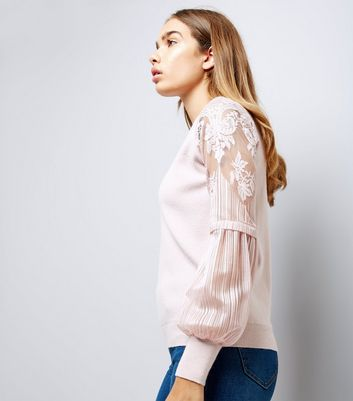 Shell Pink Lace Balloon Sleeve Jumper