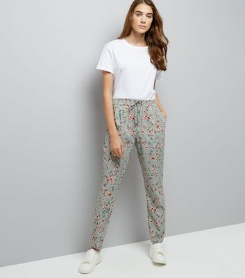 Green Floral Print Drawstring Jogging Bottoms