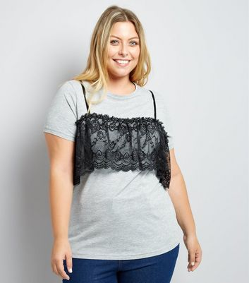 Curves Grey 2 In 1 Bralet T-Shirt