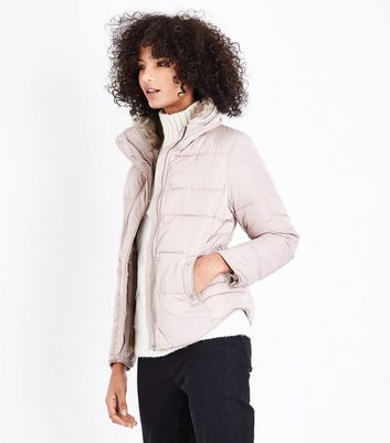 Mink Faux Fur Trim Padded Puffer Jacket
