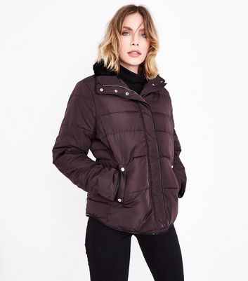 Dark Brown Faux Fur Trim Padded Puffer Jacket