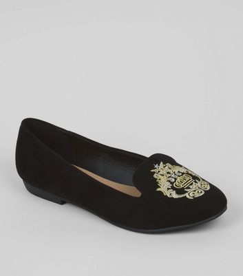Wide Fit Black Regal Embroidery Ballet Pumps
