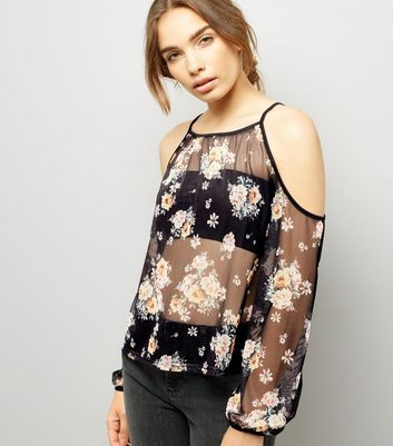 Black Floral Print Mesh Cold Shoulder Top
